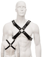 Black Leather Large Buckle & Wide Harness