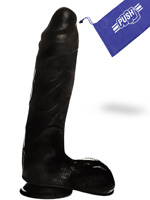 Penis Dildo Push Black 7.1 inch with Suction Cup