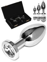 Rosebud Stainless Steel Buttplug With White Crystal - Small